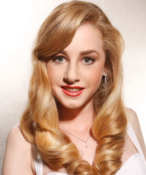 Long Wavy Formal    Hairstyle   - Medium Honey Blonde Hair Color