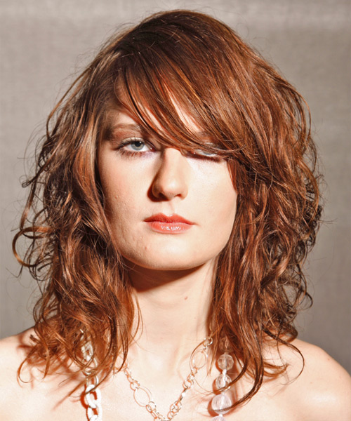 Long Wavy Alternative   Hairstyle with Side Swept Bangs  - Light Brunette (Auburn)