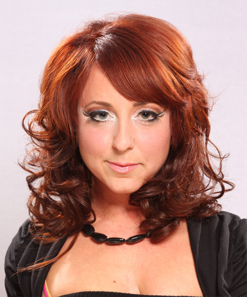 Long Curly    Ginger Red   Hairstyle with Side Swept Bangs
