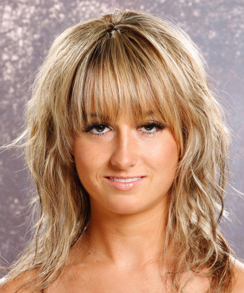Long Wavy Casual    Hairstyle with Layered Bangs  - Medium Champagne Blonde Hair Color with Light Blonde Highlights