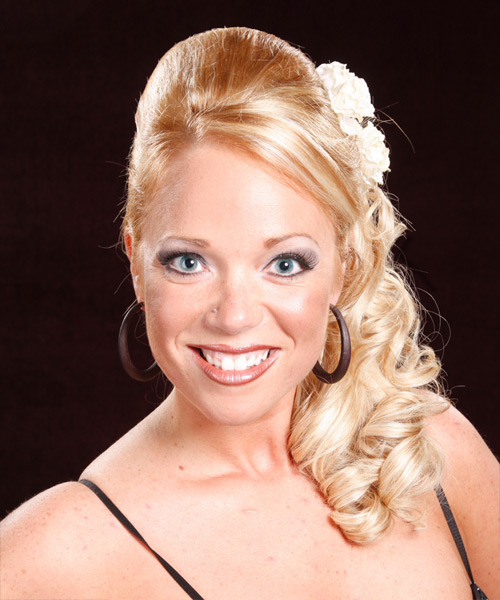 Half Up Long Curly Formal Wedding Half Up Hairstyle with Side Swept Bangs  - Medium Blonde (Honey)