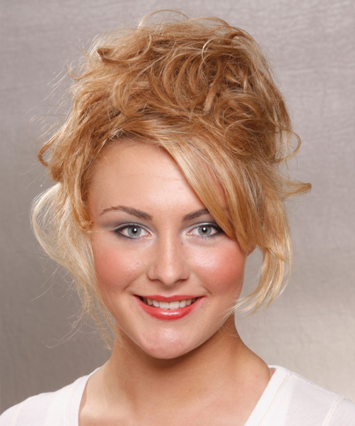 Long Curly Casual   Updo Hairstyle   -  Copper Blonde Hair Color