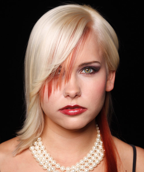 Long Straight   Light Blonde and  Red Two-Tone   Hairstyle with Side Swept Bangs