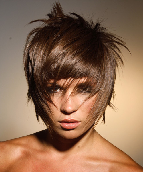 short hairstyle with heavy straight across bangs