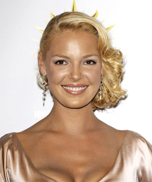 Katherine Heigl  Medium Curly Formal   Updo Hairstyle