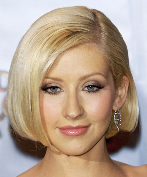 Christina Aguilera Medium Straight Formal Bob  Hairstyle