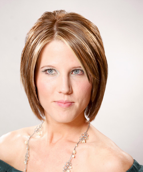 Medium Straight Formal Layered Bob  Hairstyle   - Light Caramel Brunette Hair Color with Light Blonde Highlights