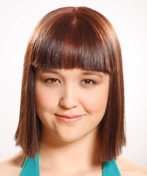 Medium Straight Formal   Hairstyle with Blunt Cut Bangs  - Medium Brunette (Auburn)
