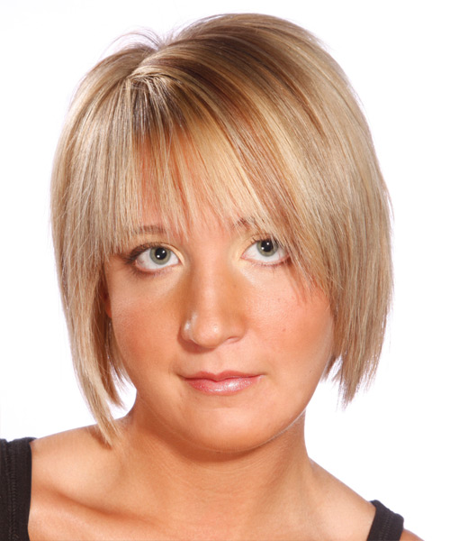 Short Straight Casual    Hairstyle   - Light Honey Blonde Hair Color