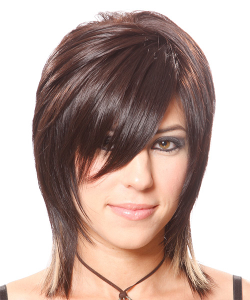 Medium Straight Alternative    Hairstyle with Side Swept Bangs  - Chocolate Hair Color