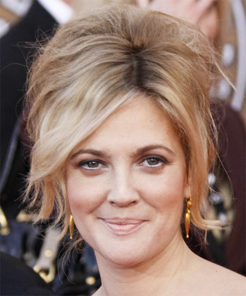 Drew Barrymore Updo Medium Curly Formal  Updo Hairstyle