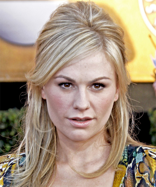 Anna Paquin Half Up Long Straight Casual  Half Up Hairstyle