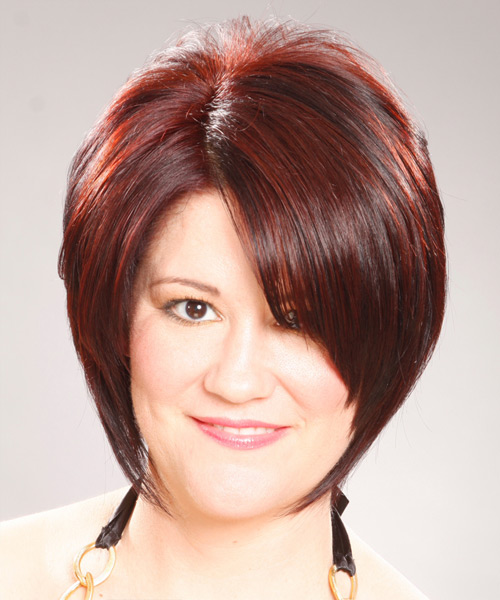 Medium Straight Formal    Hairstyle with Side Swept Bangs  -  Burgundy Red Hair Color
