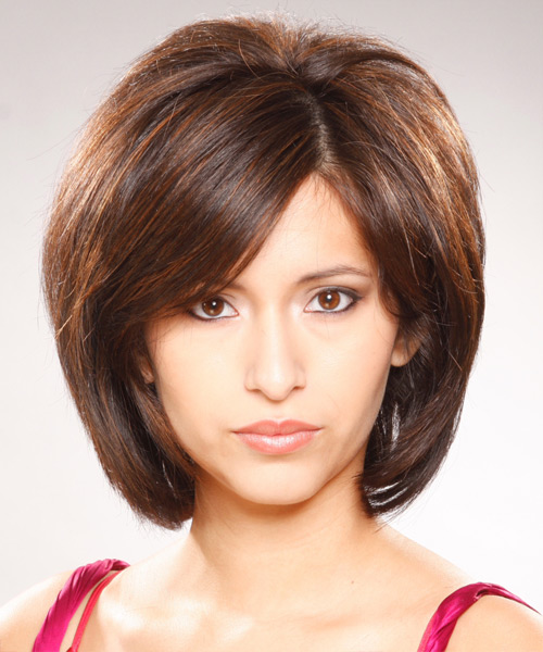 Medium Straight Casual  Bob  Hairstyle with Side Swept Bangs  -  Brunette Hair Color
