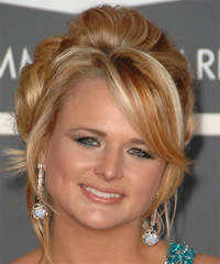 Miranda Lambert  Long Curly Formal   Updo Hairstyle   - Dark Copper Blonde Hair Color with Light Blonde Highlights