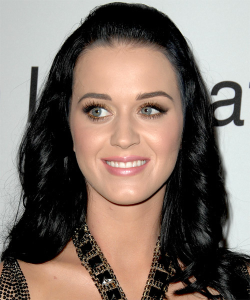 Katy Perry  Long Curly Casual   Half Up Hairstyle