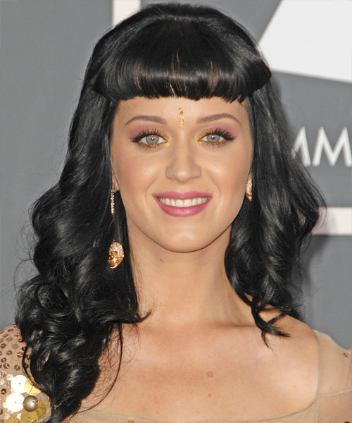 Katy Perry Long Wavy Black Hairstyle