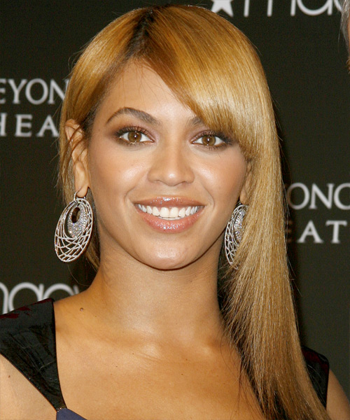 Beyonce Knowles Long Straight Formal    Hairstyle with Side Swept Bangs  - Light Golden Brunette Hair Color