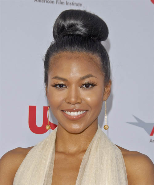 Amerie  Long Straight Formal   Updo Hairstyle
