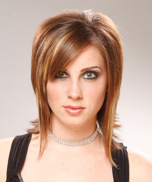 Medium Straight Formal    Hairstyle with Side Swept Bangs  - Light Auburn Brunette Hair Color with  Blonde Highlights