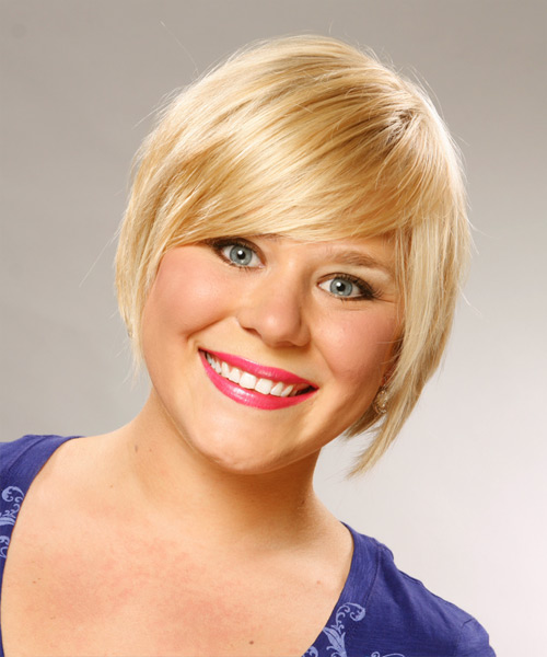 Short Straight Casual   Hairstyle with Side Swept Bangs  (Honey)