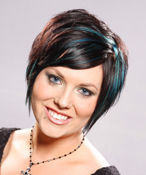 Short Straight Alternative    Hairstyle   - Dark Brunette Hair Color with Green Highlights