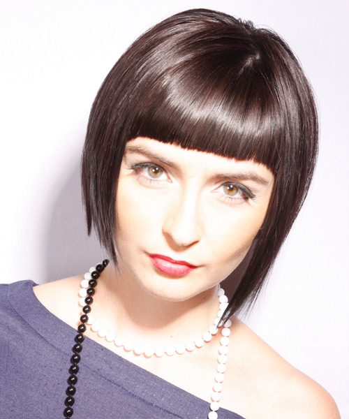 Short Straight Alternative Layered Bob  Hairstyle with Blunt Cut Bangs  - Chocolate Hair Color