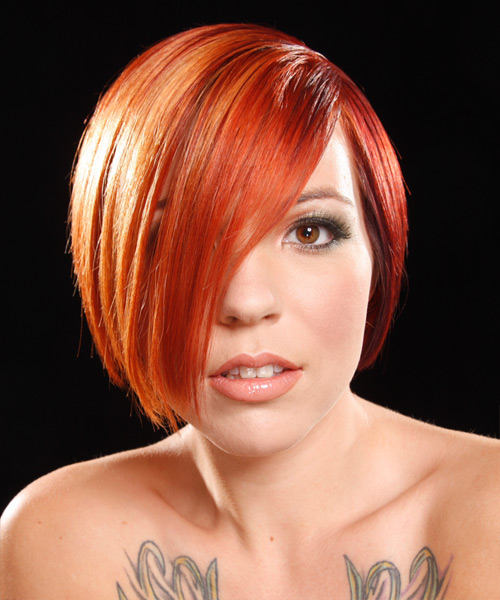 Short Straight Alternative    Hairstyle   -  Bright Red Hair Color
