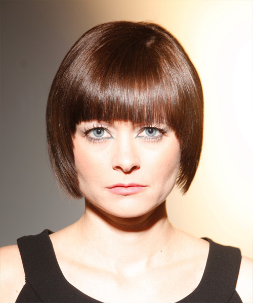 Medium Straight   Light Chestnut Brunette   Hairstyle with Blunt Cut Bangs