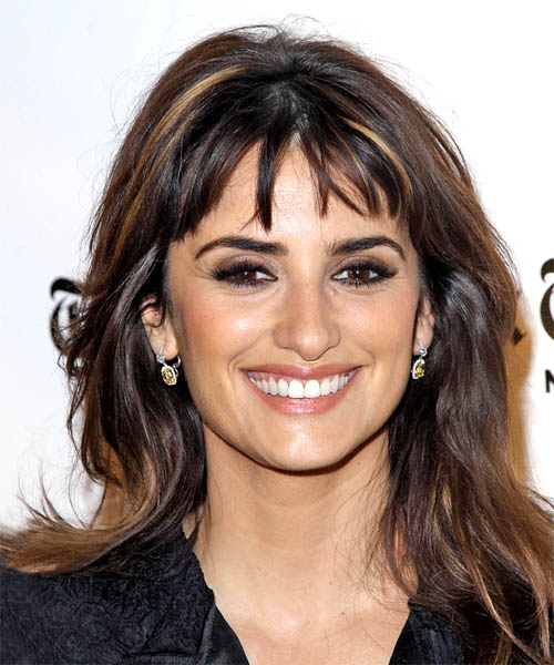 Penelope Cruz Long Straight Hairstyle with Piecey Bangs