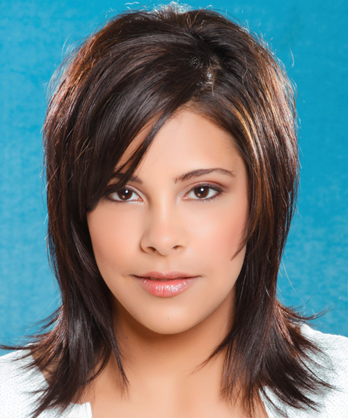 Long Straight Casual    Hairstyle with Side Swept Bangs  - Dark Brunette Hair Color