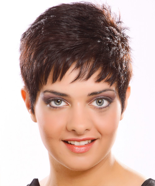 Short Straight Casual    Hairstyle   -  Plum Brunette Hair Color
