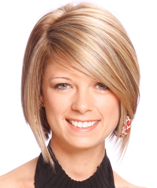 Medium Straight Formal    Hairstyle   -  Blonde Hair Color with Light Blonde Highlights
