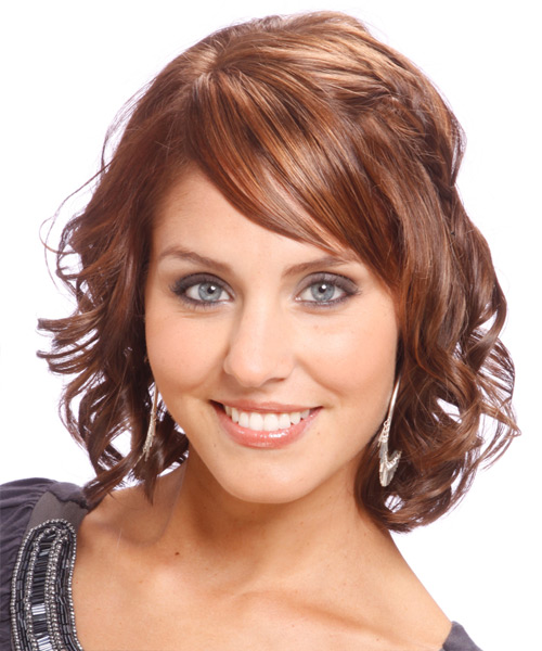 Medium Wavy Formal   Hairstyle with Side Swept Bangs  - Light Brunette (Chocolate)