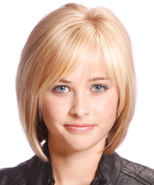 Medium Straight Casual Bob  Hairstyle with Side Swept Bangs  - Light Blonde (Strawberry)