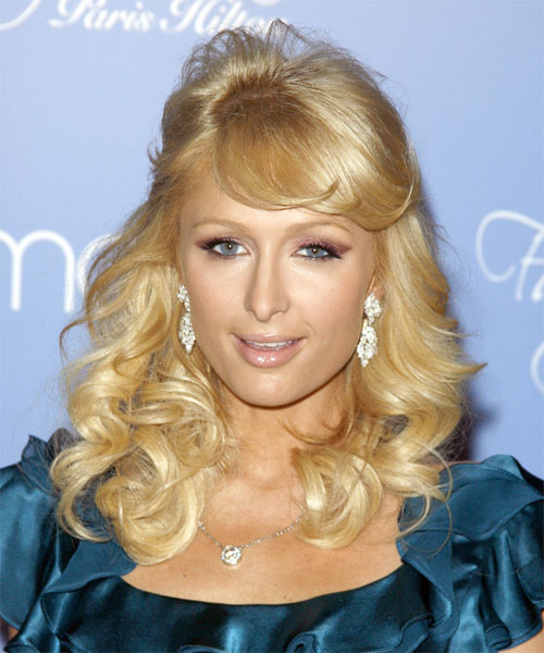 Paris Hilton Half Up Long Curly Formal  Half Up Hairstyle with Side Swept Bangs  - Light Blonde (Golden)