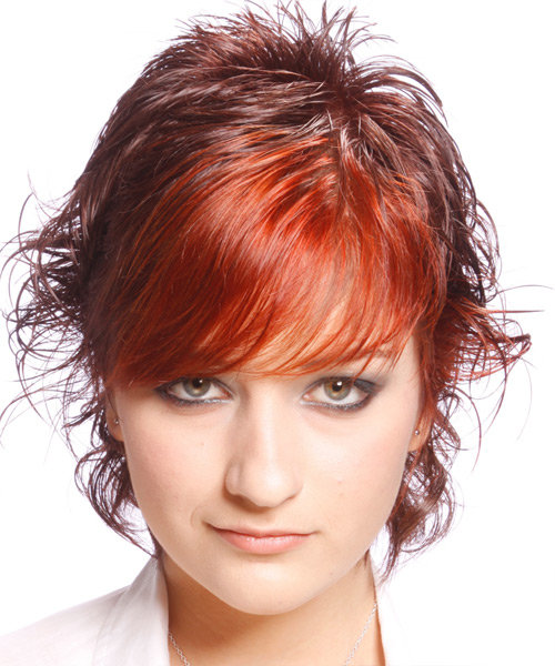 Short Wavy Alternative   Hairstyle with Side Swept Bangs  - Medium Red