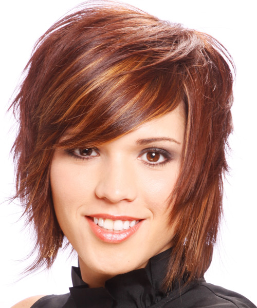 Medium Straight Alternative    Hairstyle with Side Swept Bangs  -  Burgundy Red Hair Color with Orange Highlights