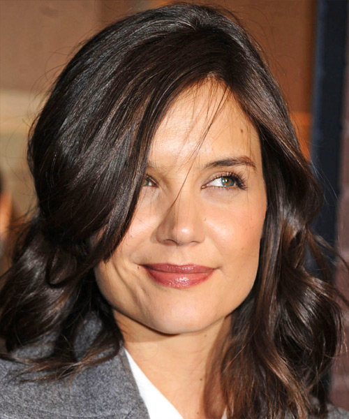 Katie Holmes Long Wavy Casual   Hairstyle with Side Swept Bangs