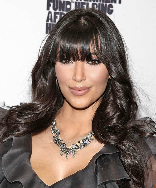 Kim Kardashian Long Wavy Casual   Hairstyle with Blunt Cut Bangs