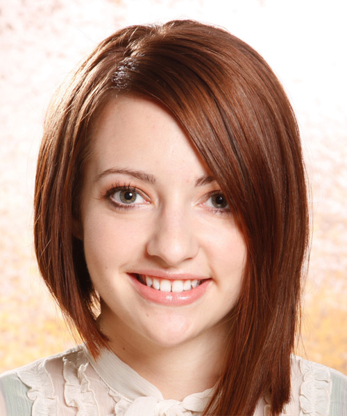 Medium Straight Alternative  Asymmetrical  Hairstyle   - Medium Auburn Brunette Hair Color