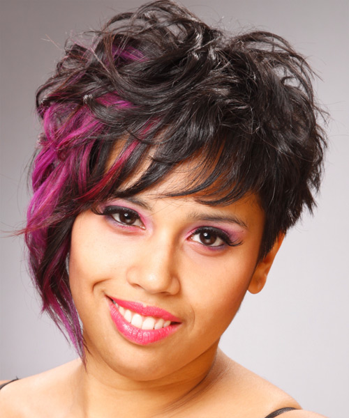 Short Wavy   Black    Hairstyle   with Pink Highlights