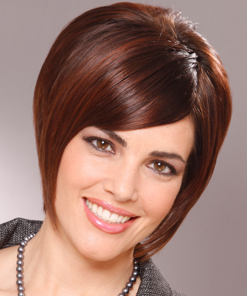 Short Straight Formal Layered Bob  Hairstyle with Side Swept Bangs  -  Mahogany Brunette Hair Color