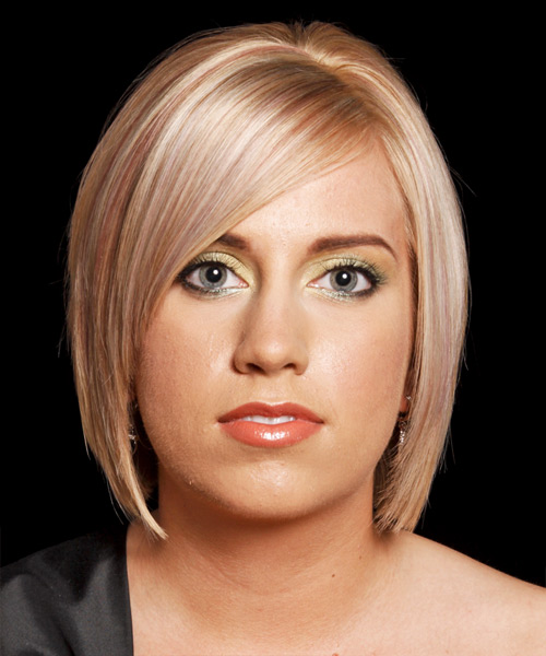 Medium Straight Formal Bob  Hairstyle with Side Swept Bangs  - Medium Blonde (Strawberry)