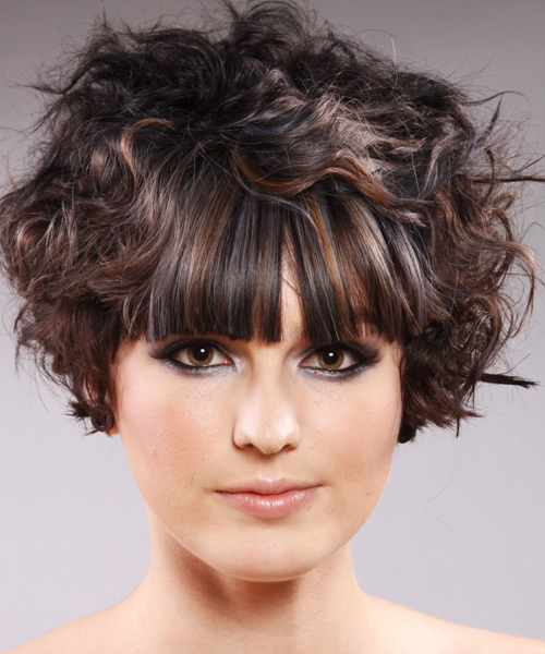 Short Wavy Alternative   Hairstyle with Blunt Cut Bangs  - Dark Brunette