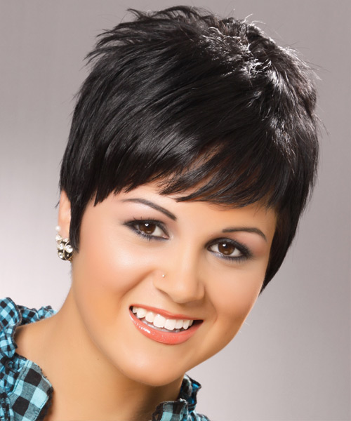 Short Straight Black Ash Hairstyle