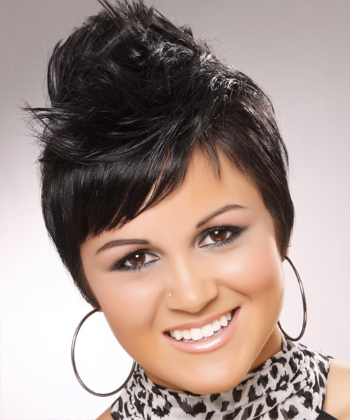 Short Straight Alternative    Hairstyle with Side Swept Bangs  - Black  Hair Color