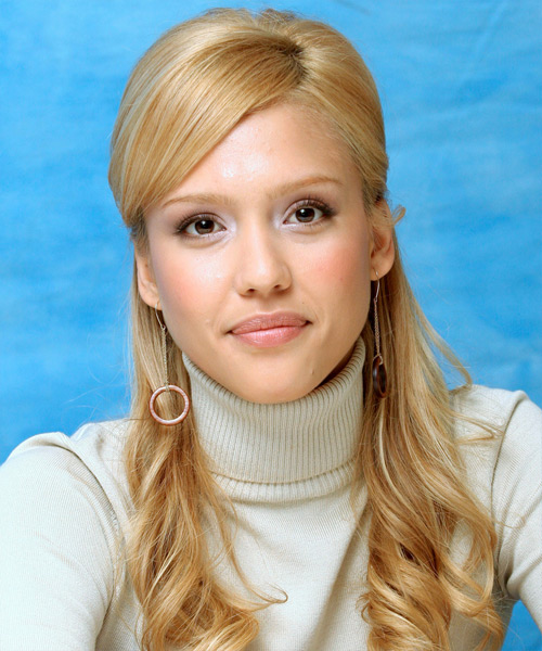 Jessica Alba Half Up Long Curly Formal  Half Up Hairstyle with Side Swept Bangs