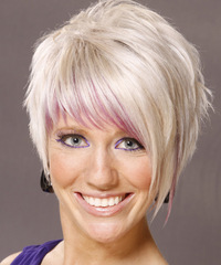 Short Straight Alternative    Hairstyle   - Light White Blonde Hair Color with Pink Highlights