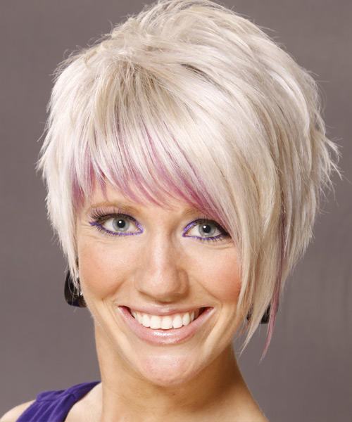 Short Straight   Light White Blonde   Hairstyle   with Pink Highlights